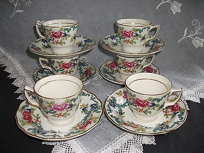 Vintage Booths Floradora Demi Tass  Coffee Cups And Saucers Set Of 6  A8042