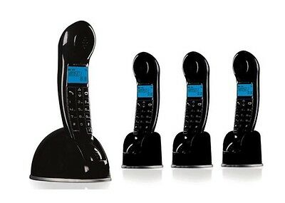 New - Funky Magicbox Carnaby Quad Digital Cordless Phone + Answer Machine Black