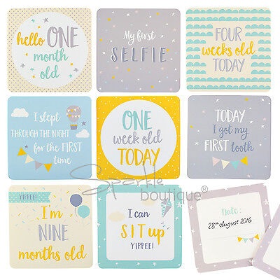 BABY MILESTONE CARDS -Unisex/Space To Log Dates- New Mum/Baby Shower Gift/Memory