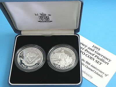 JERSEY GUERNSEY - 1995 TWO x SILVER PIEDFORT PROOF £2 LIBERATION CROWN COIN SET