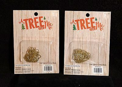 Tiny Gold Tone / Brass Miniature Feather Tree Christmas Ornament Hangers - NIB