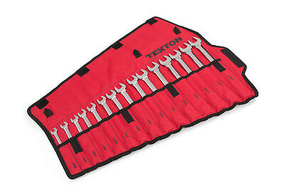 15pc.Combination Wrench Set Metric,Extra Length in Roll up storage pouch 8-22 mm