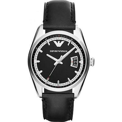 Emporio Armani AR6014 Mens Sportivo Black Dial Black Leather Band Watch NEW $195