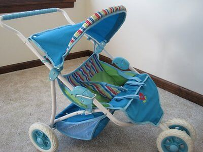 American Girl Bitty Baby double stroller blue green retired