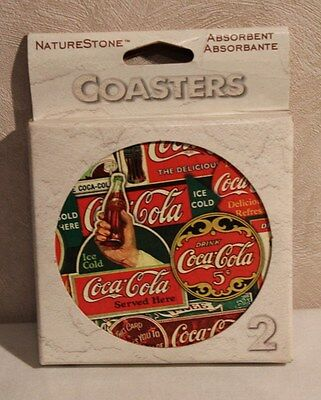 NEW Advertising Coca Cola  Signs Coasters Set of 2 Nature Stone Absorbent Cork