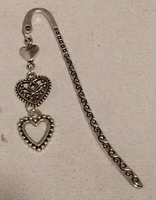 Tibetan Silver Bookmark - With Love Hearts Charms - Perfect Gift-Stocking Filler
