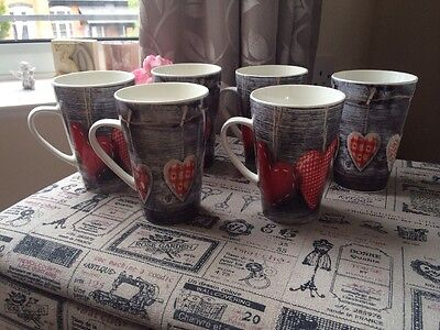 Set Of 6 Shabby Chic Style Red Grey Heart Mugs Coffee Tea Cups