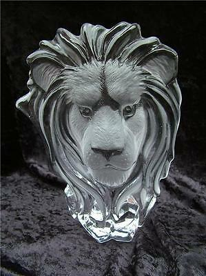 Embossed Lions Head Cut Glass Sculpture Animal Ornament