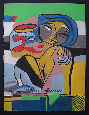 LE CORBUSIER   OIL PAINTING  ON ORIGINAL  CARDBOARD OF THE 70s