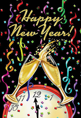 #87F Happy New Year Party Champagne New Years  House Flag 28X40 Banner