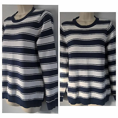 Ladies Size 14 Navy and White Striped Jumper from BHS