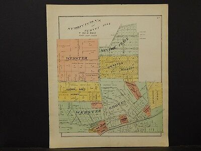 Missouri St. Louis County Map 1893 Central Township, Webster, Mentor Place K3#02