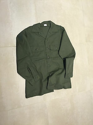 FATIGUE SHIRT  ,OLIVE,NEW OLD STOCK, MEDIUM, 15.5X33, US MADE,poly/cotton
