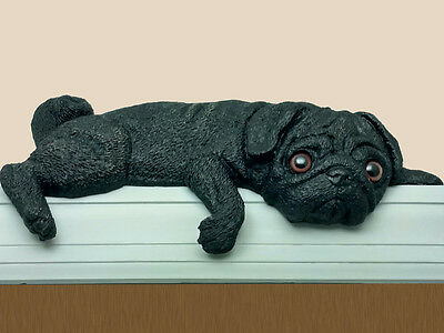 Black Pug dog figurine door topper (silhouette type)