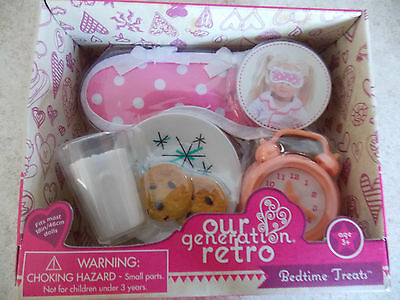"Battat Our Generation Retro 18"" Doll Set Bedtime Treats Cookies/Milk Clock NIB"