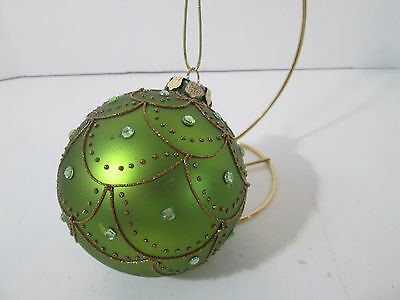 "Large Green and Gold Glass Ball Ornaments 4"" Glittered Jeweled Holiday"