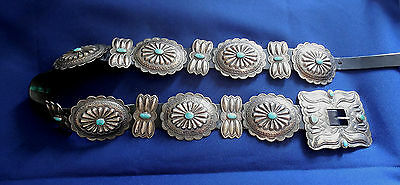 NATIVE AMERICAN STERLING TURQUOISE Cabs Ladys Vintage 14 PCS CONCHO BELT