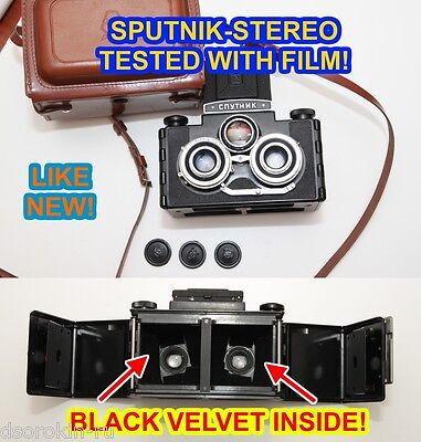 Unique black velvet Sputnik 6x6 tested with film STEREO camera medium format ex+