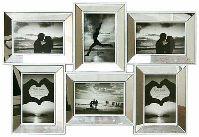 Multi Aperture Mirrored 4 X 6 Photo Frame - 6 Picture Frames