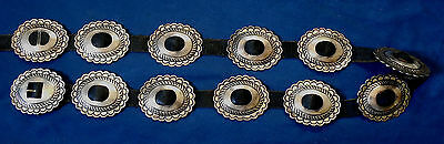 NATIVE AMERICAN STERLING Silver Stamped Domed Vintage 12 PIECES CONCHO BELT