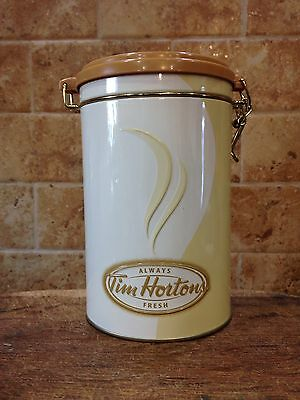 Tim Horton's Collectible 6th Ltd Edition Coffee Tin Canister 2006 Ivory & Gold