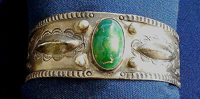 NAVAJO PAWN STERLING Stamped Domed TURQUOISE Ladys Vintage SMALL BRACELET