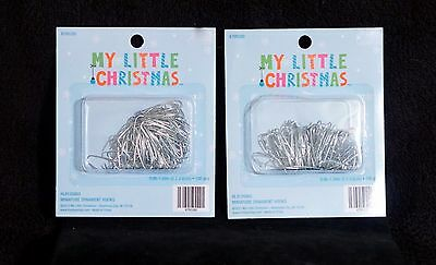Lot Of 100 Tiny Silver Miniature Feather Tree Christmas Ornament Hangers NIB