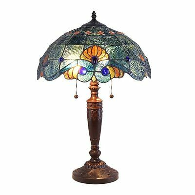 Tiffany Style Blue Vintage Table Lamp Down Light Stained Glass Elegant offic NEW