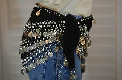 Black Velvet Belly Dance Hip Scarf Silver Coin & Bead Belt Wrap 1size fits all