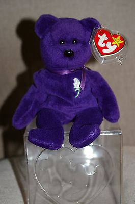 "Ty Beanie Baby Bear ""Princess"" Diana Memorial First Edition Indonesia with case"