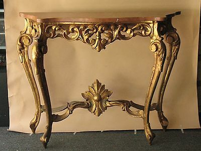 Old Italian hand carved wood Console marble top TABLE gold furniture Italian Big