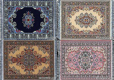 Set of 4 Rug Coasters - Persian Style Carpet Table Coasters - Various Designs