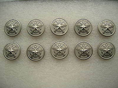 07's China PLA Reserve Army,Navy,Air Force General Metal Buttons,10 Pcs,22mm