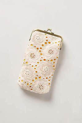 AnThRoPoLoGiE~Embroidered Eyelet Glasses Case {Ivory/ Sunshine } *NEW*