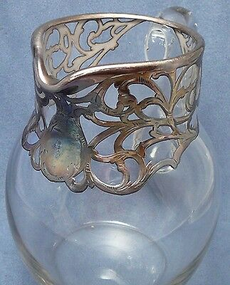 Heavy Sterling Art Nouveau Cased Crystal Pitcher Antique Silver Deposit