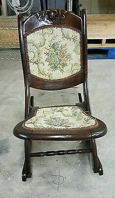 Antique, Tapestry, Dark Wood Tone, Carved Walnut, Folding, Rocking Chair.