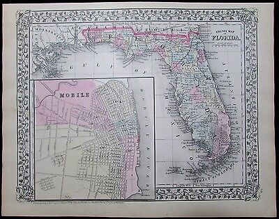 Florida state antique map 1870 attractive old hand color Mobile AL city plan