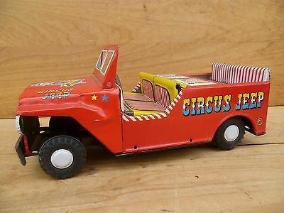 Vintage Old Large Size Tin Toy Circus Jeep, Old Toy Car (C657)