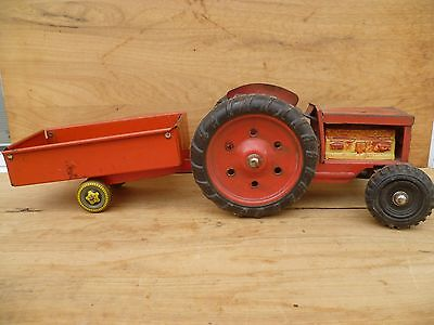 Vintage Old Large Size Tin Toy Australian Made Tractor & Trailer 'x2' (C660)