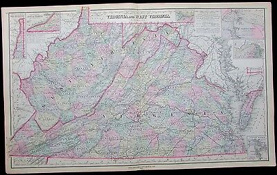 Virginia and West Virginia as states 1886 large detailed antique map hand color