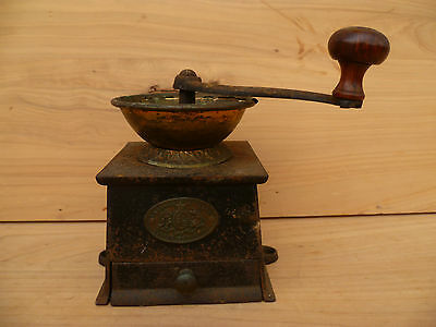 Old Cast Iron And Brass Coffee Grinder, English Made