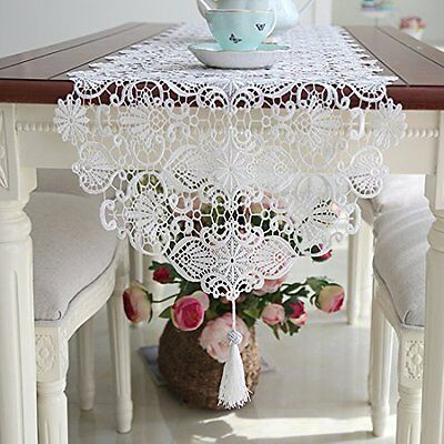 Ethomes table runner Ethomes White lace embroidered table runner with tassel for