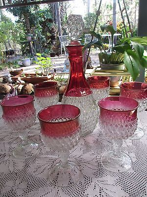 Vintage Red Glass Decanter & 6 matching Glasses Gorgeous!!