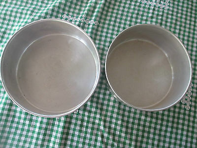 2 Vintage Aluminium round cake tins,can be tiered for celebration cakes
