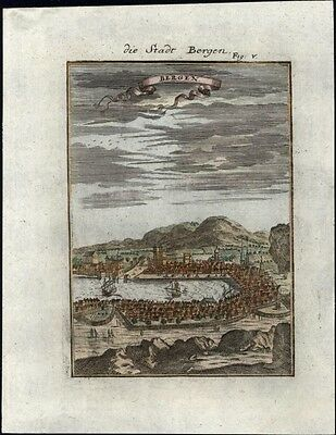 Bergen city view Norway 1719 charming antique engraved panoramic birds-eye map