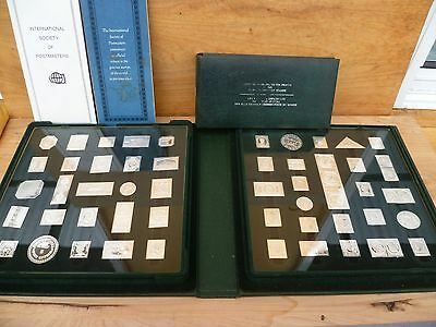 Vintage Old Large Full Set Of Thick Silver World Stamps & Books (A260)