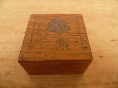 Vintage  Old Brass And Timber Box (792)