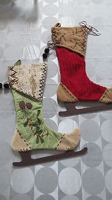 Set of 2 Ice Skates Christmas Stocking With Wooden Blades Unique Skating Shaped