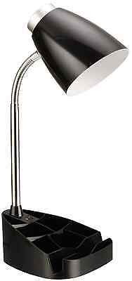 Limelights LD1002-BLK Gooseneck Organizer Desk Lamp with iPad Stand or Book Hold