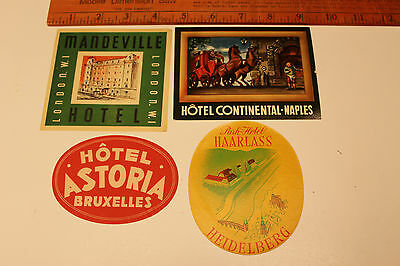 4)Vintage Original Hotel Luggage Labels Travel Stickers London,Italy,Germany,Etc